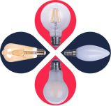 Luz com Filamento LED C30-Cog 4W 400lm E14 4Filamentos de PCS