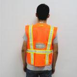 Chaleco reflexivo de la seguridad del equipo del cierre del frente de la cremallera