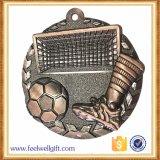 A liga do zinco morre as medalhas de bronze do futebol do logotipo da carcaça 3D