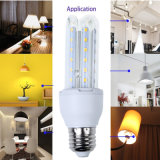 9W forma de U lámpara de maíz LED E27 base 360 grados de iluminación bombilla de maíz LED