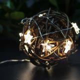20のLED電池のクリスマス星形の装飾的なストリングライト