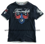 T-shirt à la mode de coton pour le garçon avec le tissu de mélange