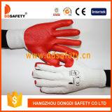 Перчатка 2017 резины красного хлопка Ddsafety