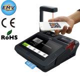 Caja registradora de la tarjeta de crédito de la posición del golpe fuerte con el monitor y el programa de lectura del código de barras
