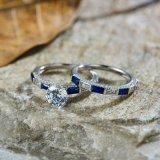 Anello di fidanzamento blu impostato - 9