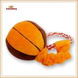 Juguete de la cuerda del perro del estilo del baloncesto del juguete de la felpa del animal doméstico con la maneta (KB0028)