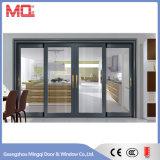 Puerta deslizante de aluminio del color de madera con el acoplamiento