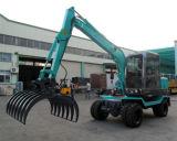 中国の360度の回転石造りクランプが付いている油圧車輪の掘削機