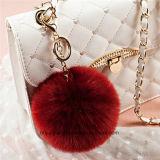 Anelli portachiavi falsi alla moda della pelliccia POM POM del coniglio con la catena del metallo