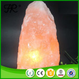 Himalayan brillo mano tallada lámpara de sal de roca con base de madera