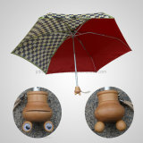 5つのフォールドの小型漫画のハンドルマニュアルの開いた雨か日傘(JF-MMO501)