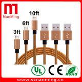 USB micro que carga y tela del cable de la cuerda de la sinc. de los datos tejido tejida para Samsung