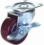 Schwenker PU mit Bremse Furnicture Fußrollen-(rotem) Rad