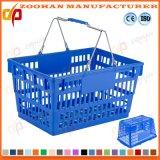 Paniers à provisions portatifs en plastique colorés de supermarché avec les traitements en métal (Zhb103)