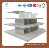 Estantería de madera blanca de 4 niveles Mesa de exposición ovalada de melamina