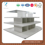 4 niveles de melamina de estante de madera blanca Mostrar tabla Oval