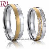 Оптовым кольцо ювелирных изделий нержавеющей стали IP покрынное золотом для людей и женщин