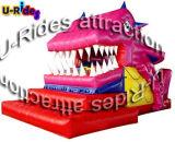 ピンクカラー謝肉祭のための大きい口のDianosaur Inflatabeのスライド