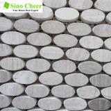 Prix ovale bon marché de carrelage de mosaïque de mosaïque grise de fibre de bois