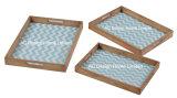 S/3 pão de impressão personalizado retangular servindo de madeira Bandeja Alça/W