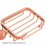 De sanitaire Mand van de Zeep van de Schotel van de Zeep van de Luxe van de Toebehoren van de Badkamers van Waren Muur Opgezette in Roze Goud