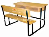(GT-58) 교실 가구의 나무로 되는 학교 학생 두 배 책상 그리고 벤치