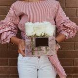 Rectángulo de empaquetado de la alta flor de lujo de acrílico clara barata china
