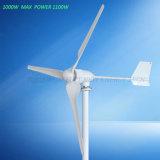 3개의 잎 2.5m/S를 가진 1000W 바람 터빈 발전기 최대 힘 1100W는 자유 에너지 풍력 발전기를 위로 가동한다