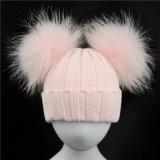 Связанный зимой Beanie крышек шлема Unisex с шерстью POM Poms Raccoon