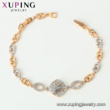 75237 Xuping 형식 보석 금에 의하여 도금되는 빨강 밧줄 잎 팔찌