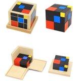 Деревянные Монтессори по вопросам образования детей игры трехчлен Cube для мальчиков девочек