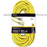 12-3 100 '屋外のつけられた黄色い力の延長コード