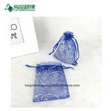 L'usine de la Chine personnalisent la maille promotionnelle d'organza, sacs de estampage chauds d'organza de cordon de cadeau de sucreries de mariage de configuration