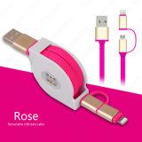Produto novo 1m 2 novos em 1 cabo retrátil do USB dos dados