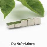 Block-Form-Neodym Dauermagnet mit Nickel-Abmessung 9X9X4.6mm