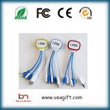 Cable colorido de la red del micr3ofono del LED Charger&Transfer del cable plano del USB