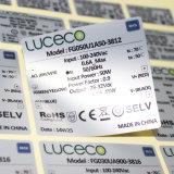 Etiqueta adesiva metálica de prata Shinning lustrosa da etiqueta do PVC da impressão feita sob encomenda