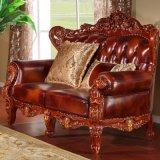 Wohnzimmer-Möbel mit realer lederner Sofa-Couch (506B)