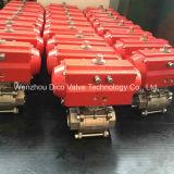 CF8 doble neumático 3PC Válvula de bola con la abrazadera final