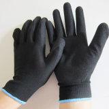 Hohes sichtbares orange Nylon mit Sandy-Nitril beschichtetem Arbeits-Handschuh
