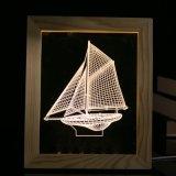 Personalización - Escritorio LED Lámpara de mesa decoración ilusión 3D LED de luz nocturna de bastidor de madera