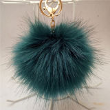 動物Foxの模造毛皮の球の偽造品の柔らかく曖昧な毛皮POM POMのキーホルダー