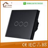 Interruttore elettrico domestico di alluminio spazzolato 3 gruppi
