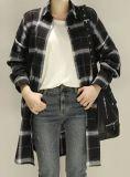 Cappotto lungo casuale della camicia della camicetta del manicotto di modo del plaid di alta qualità dei vestiti