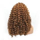 150명 조밀도 금발 비꼬인 꼬부라진 레이스 정면 여자 합성 물질 가발