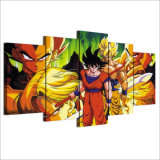 Moderne Segeltuch-Farbanstrich-Rahmen-HD gedruckte Wand-Kunst stellt 5 Stücke Anime-Drache-Kugel-Superheld Goku Plakat-Raum-Ausgangsdekor-dar