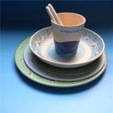 O decalque Compostable do restaurante torna côncava a placa de jantar de bambu barata da fibra