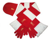 2018 Venda quente lenço de futebol do ventilador, cachecol, lenço quente&Porta-luvas&Hat, lenço de acrílico, conjunto de futebol