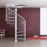 Escada de aço dos trilhos das escadas de aço espirais brancas da escadaria