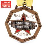 Venda por grosso de metais personalizados barata 3D Award Loja Vitória Medalha de Ouro